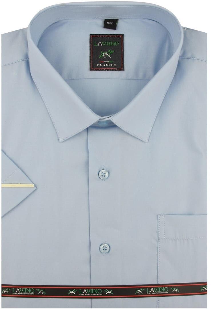 Duża Koszula Męska Laviino gładka błękitna duże rozmiary na krótki rękaw K706