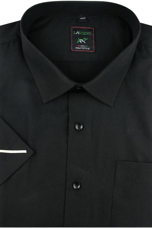 Duża Koszula Męska Laviino gładka czarna duże rozmiary na krótki rękaw K707