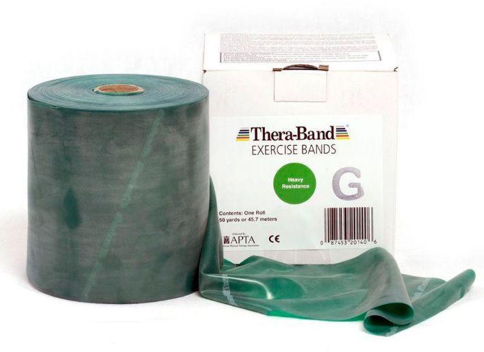 Guma rehabilitacyjna Thera Band o zwiększonej wytrzymałości - rolka 45,5m - zielona (TB gigant green)