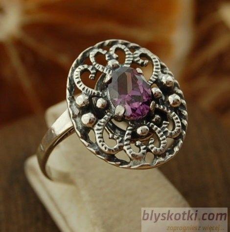 Asti - srebrny pierścionek z ametystem