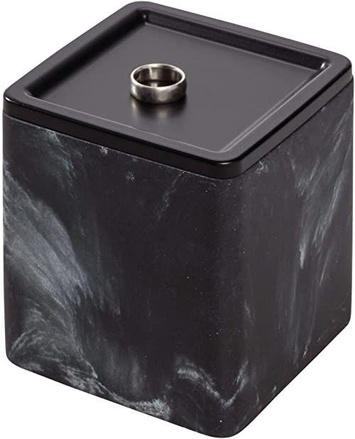 iDesign pudełko do przechowywania kosmetyków z pokrywką, mała żywica syntetyczna i metalowa toaletka organizer do makijażu, przechowywanie łazienki do przechowywania delikatnych kosmetyków, czarny