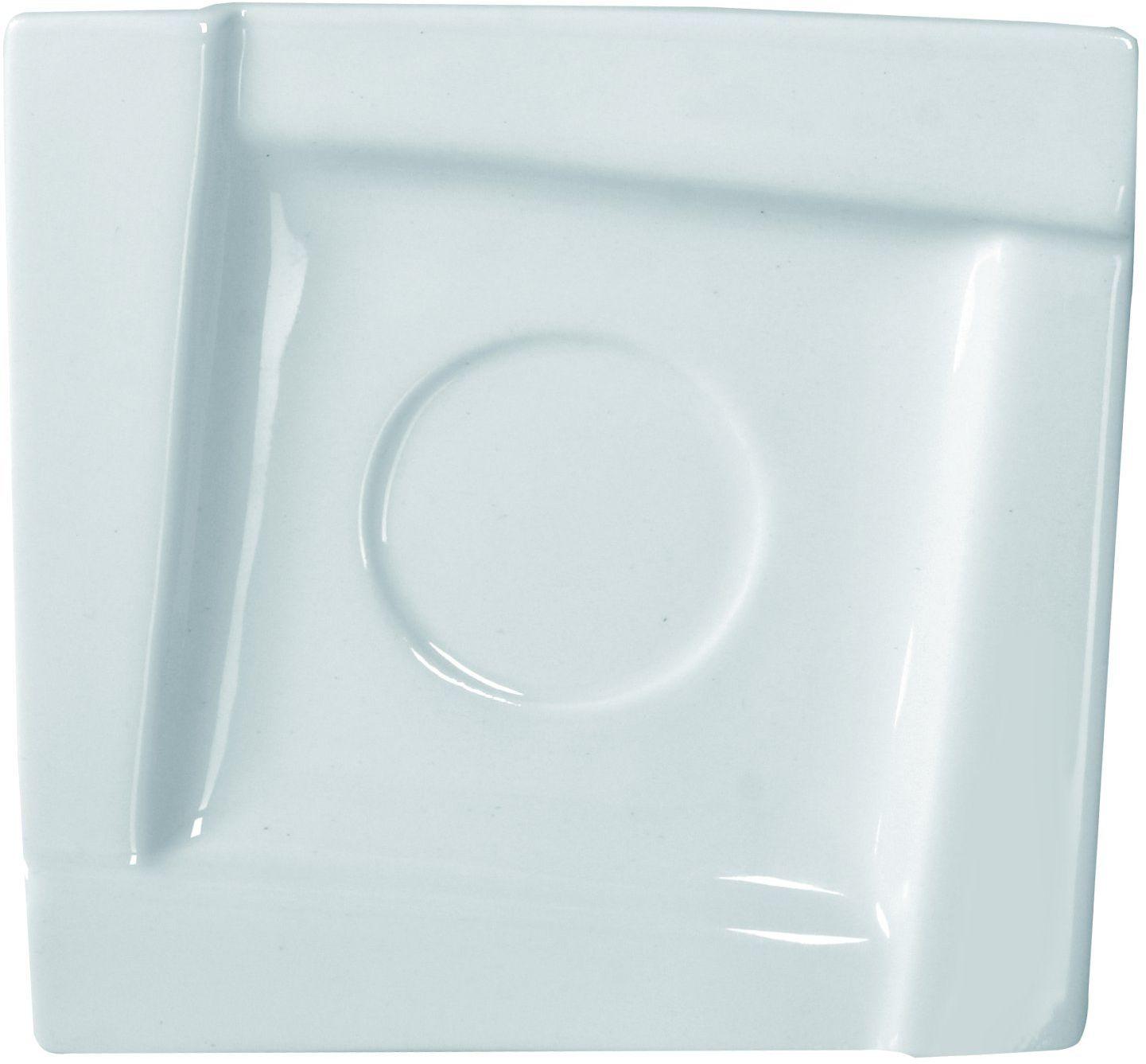 Dajar AMBITION sześcienna podstawka pod spodek, okrągła, z porcelany, nowoczesny, elegancki, biały