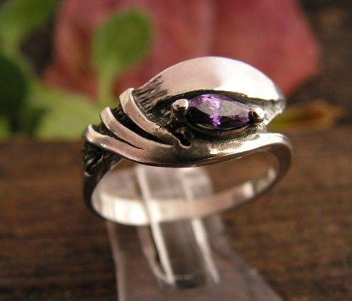 Fenia - srebrny pierścionek z ametystem