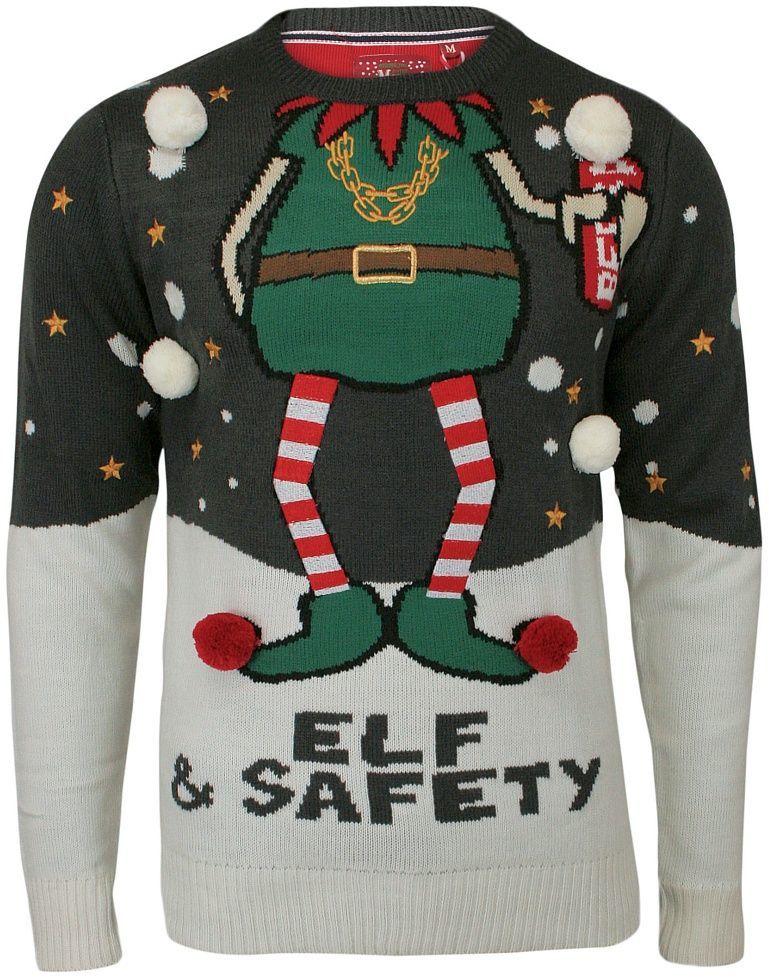 Sweter Świąteczny z Elfem, Śmieszny, Na Prezent, Pompony, Męski - Brave Soul SWBRSAW18SAFETYcharcoal