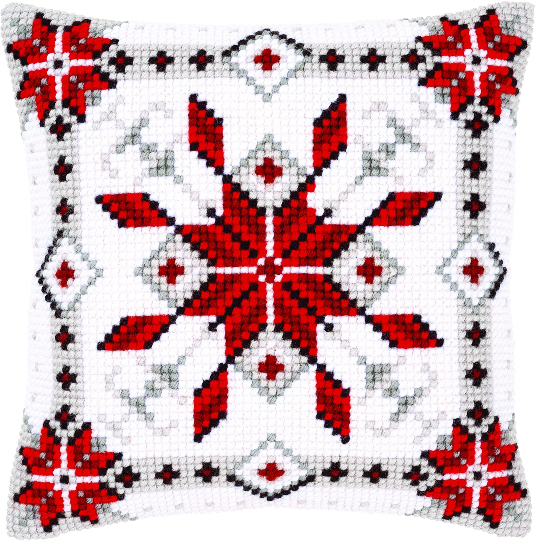 Vervaco Poduszka z haftem krzyżykowym Śnieg Kryształ I