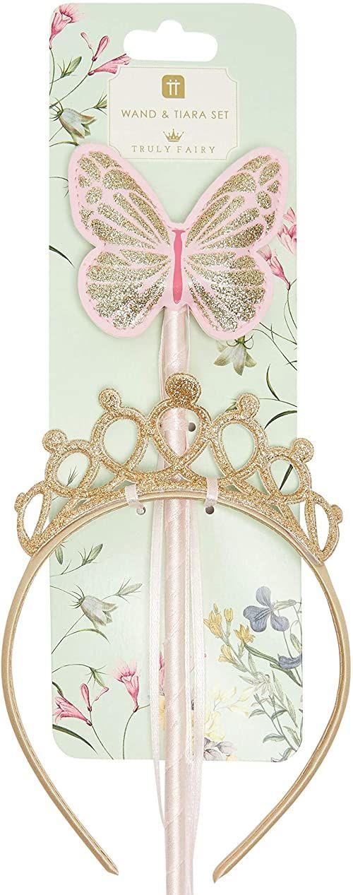 Motyl czarodziejska różdżka i złota tiara księżniczki dla dziewczynek Akcesoria do przebrań na urodziny dziecka, bal przebierańców, prezent dla dziewczynek, brokatowa korona