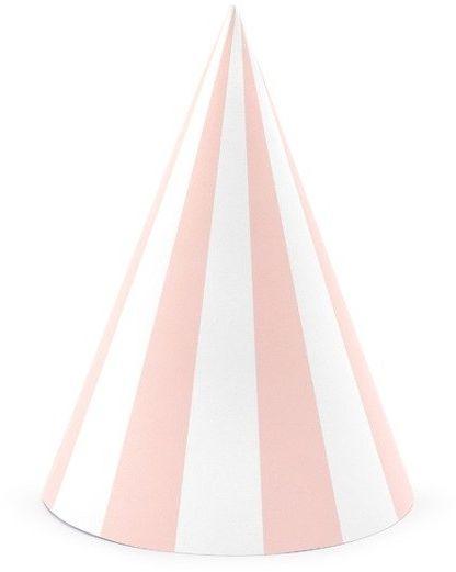 Czapeczki urodzinowe w różowe paski 6 sztuk CPP18-081J