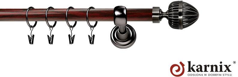 Karnisz Metalowy Prestige pojedynczy 25mm Milano Antracyt - mahoń