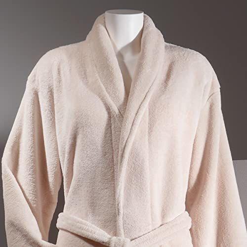 Sancarlos Płaszcz kąpielowy z mikrofibry kremowy  puszysty  odzież smoking  służy również jako płaszcz