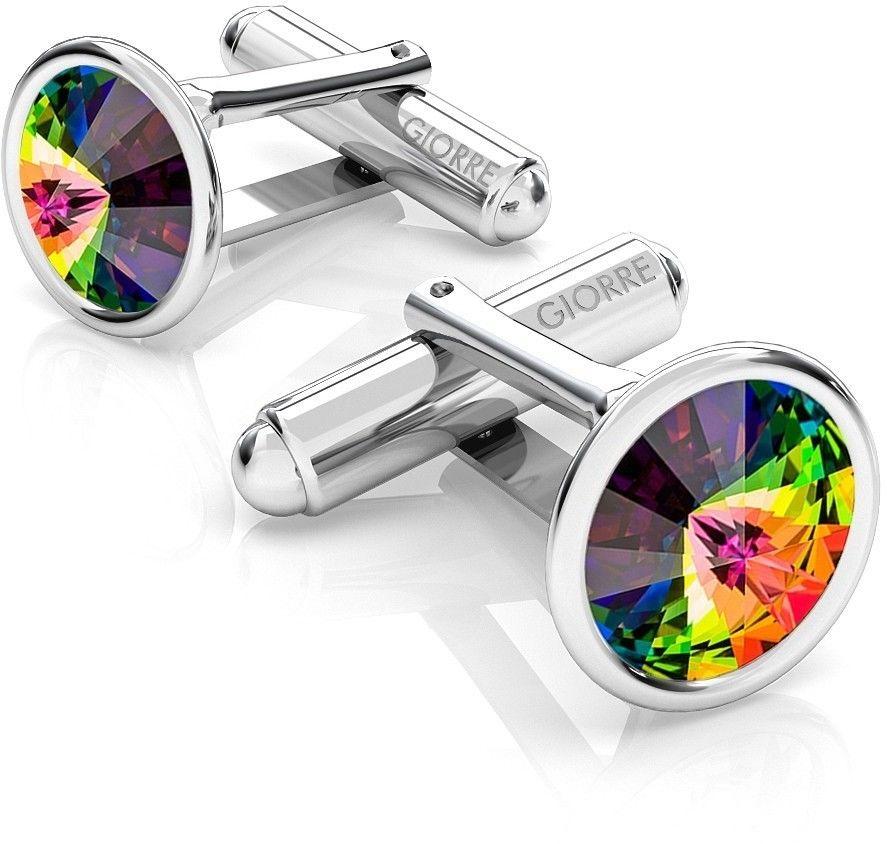 Srebrne spinki do mankietu Swarovski rivoli, srebro 925 : Srebro - kolor pokrycia - Pokrycie platyną, SWAROVSKI - kolor kryształu - Crystal VM