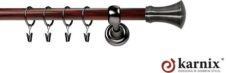 Karnisz Metalowy Prestige pojedynczy 25mm Monaco Antracyt - mahoń