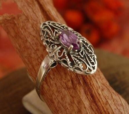 Ronda - srebrny pierścionek z ametystem