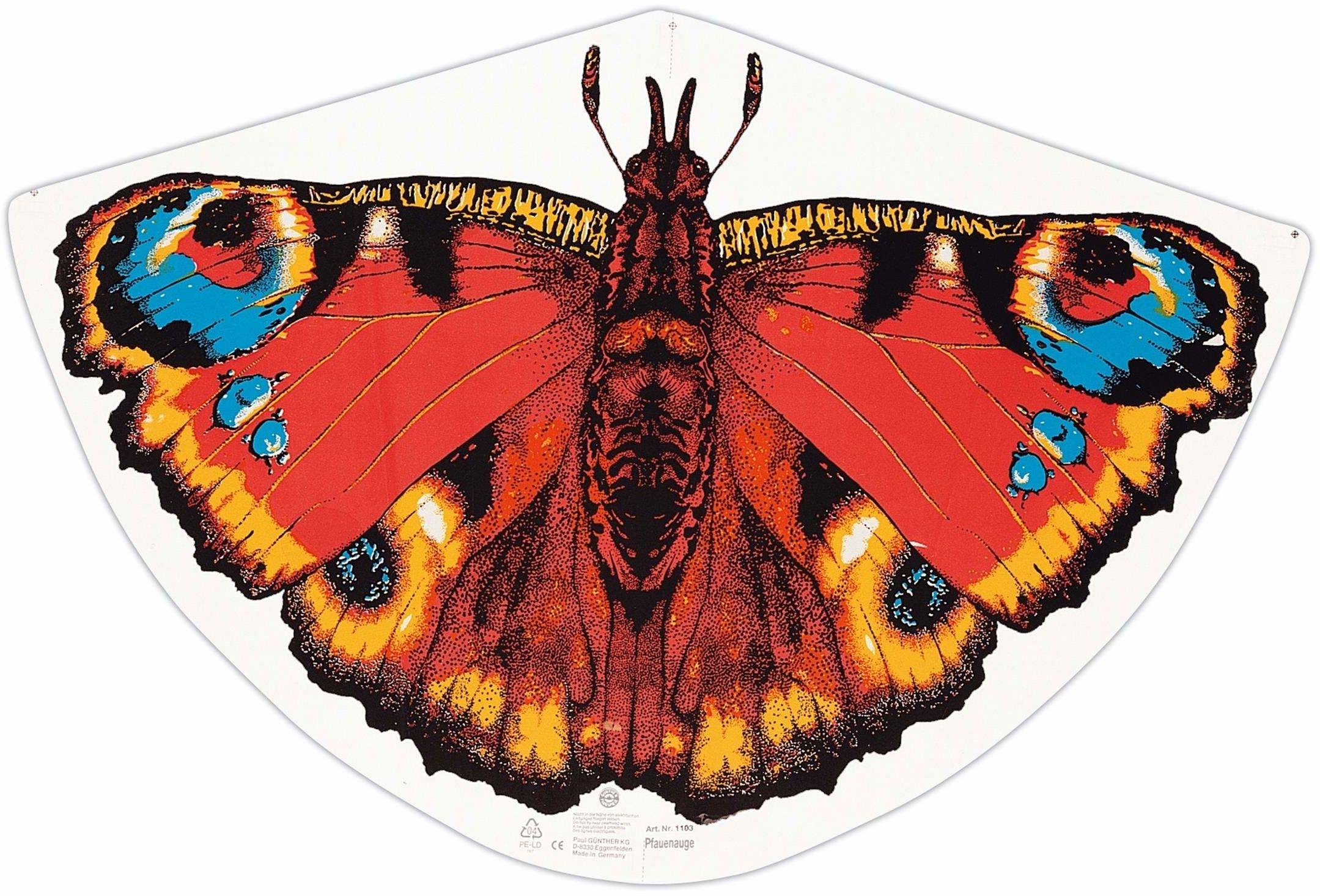 Paul Günther 1103 - latawiec dziecięcy z motywem motyla, latawiec z wytrzymałej folii PE z regulowaną wagą smoka, dla dzieci od 4 lat z uchwytem do nawijania i sznurkiem, rozmiar ok. 92 x 62 cm