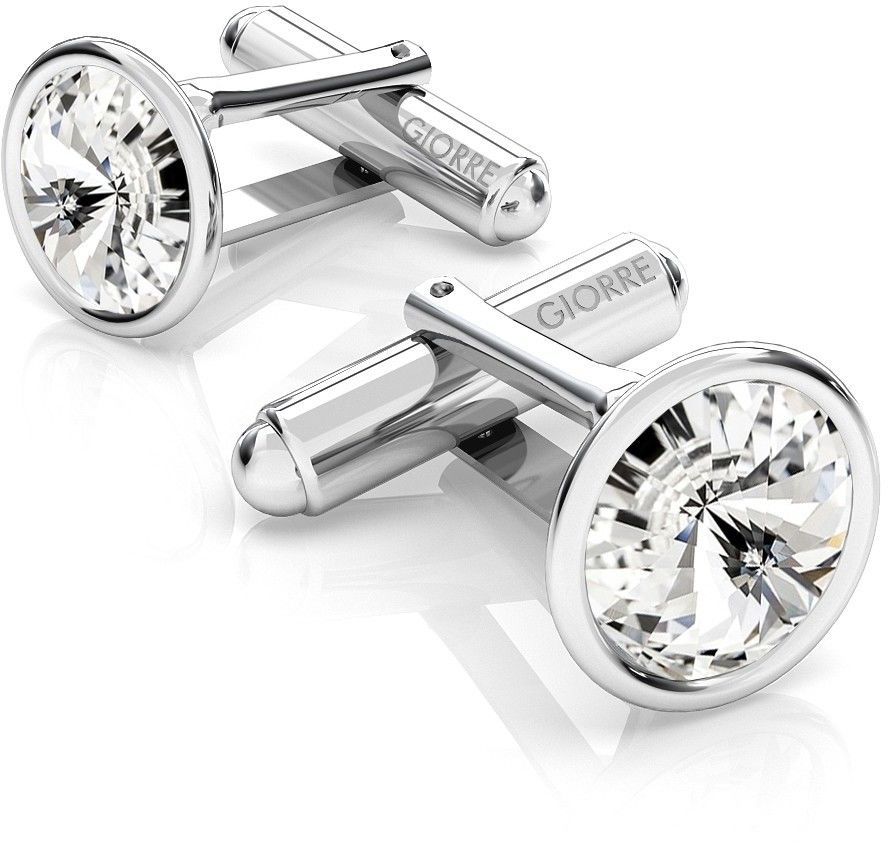 Srebrne spinki do mankietu Swarovski rivoli, srebro 925 : Srebro - kolor pokrycia - Pokrycie platyną, SWAROVSKI - kolor kryształu - Crystal