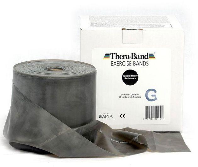 Guma rehabilitacyjna Thera Band o zwiększonej wytrzymałości - rolka 45,5m - czarna (TB gigant black)