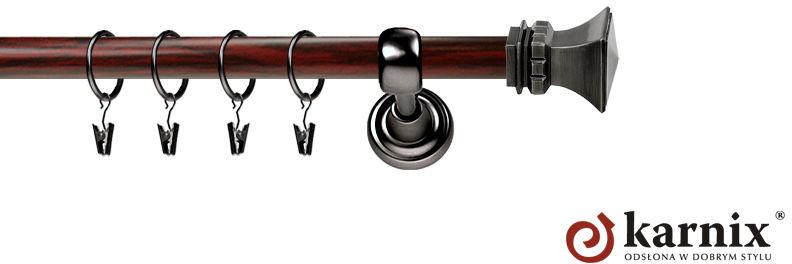 Karnisz Metalowy Prestige pojedynczy 25mm Orto Antracyt - mahoń