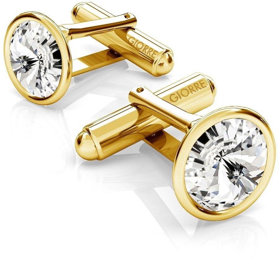 Srebrne spinki do mankietu Swarovski rivoli, srebro 925 : Srebro - kolor pokrycia - Pokrycie żółtym 18K złotem, SWAROVSKI - kolor kryształu - Crystal