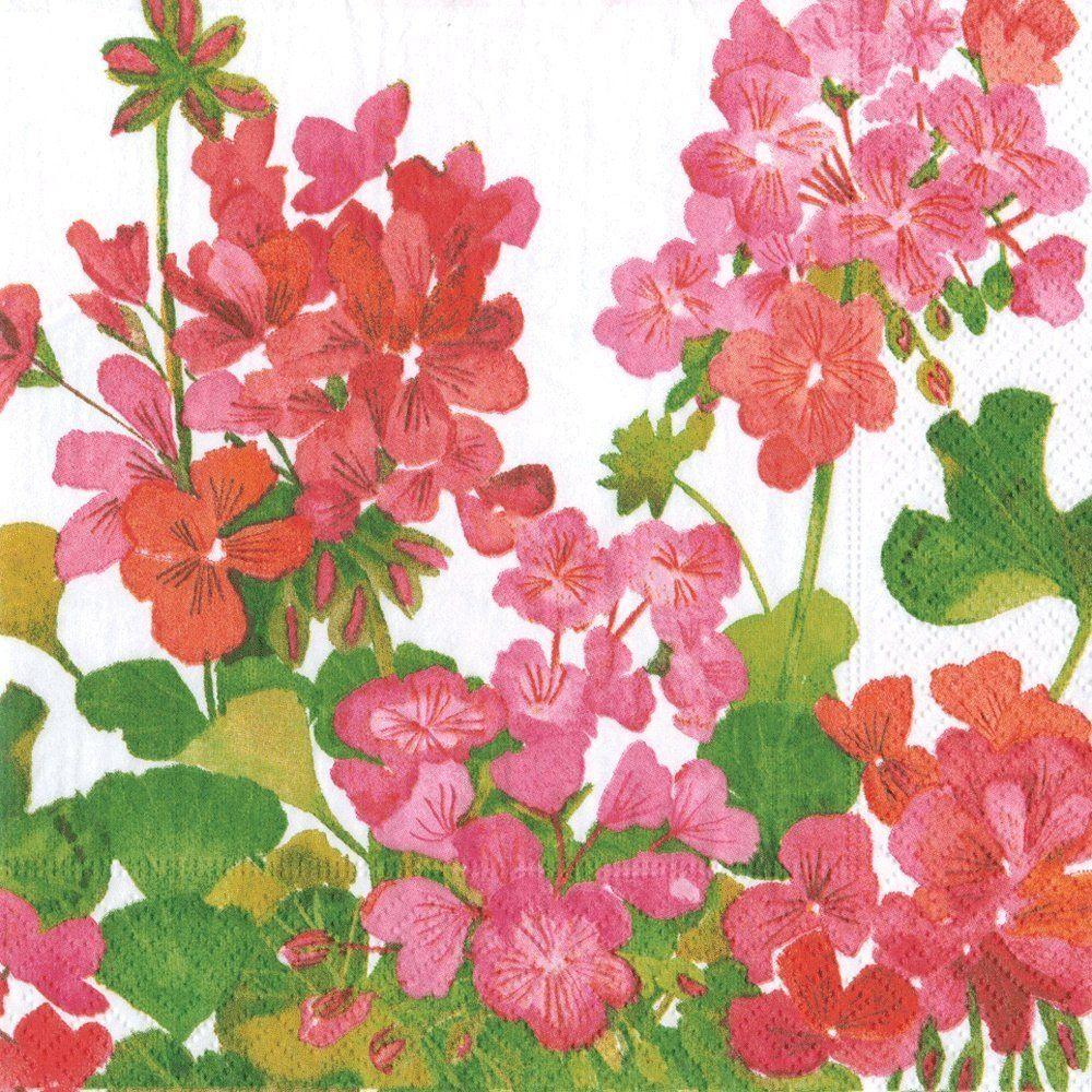 Caspari Geraniums papierowe serwetki koktajlowe, opakowanie 20 sztuk, czerwone