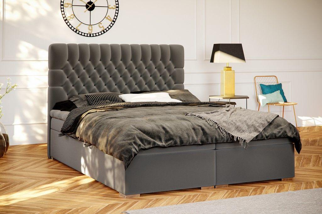 Łóżko tapicerowane kontynentalne ELBA