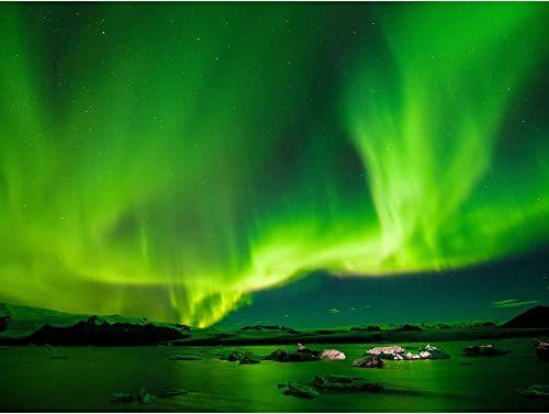 Northern Lights Aurora Borealis zielony duży obraz na ścianę na płótnie