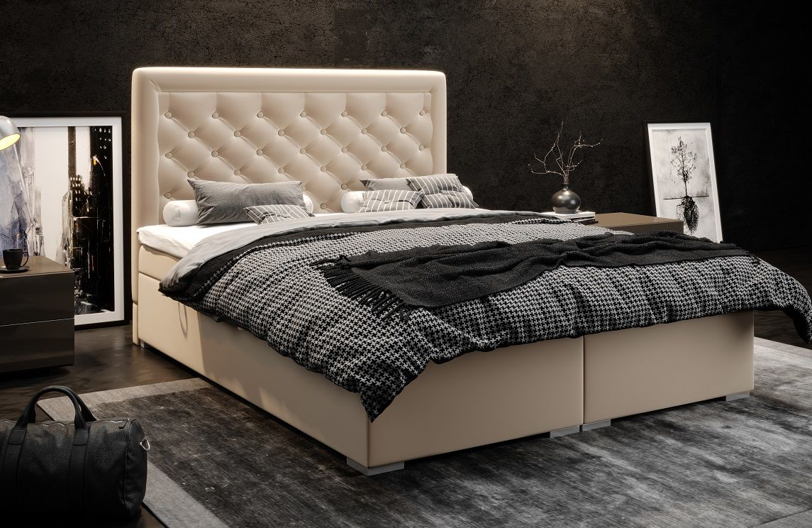 Łóżko tapicerowane kontynentalne LUXURY