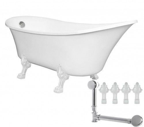 Wanna Retro 164x70x64-77 cm biała +z akcesoriami biały /chrom nogi i drenaż , ANTICA