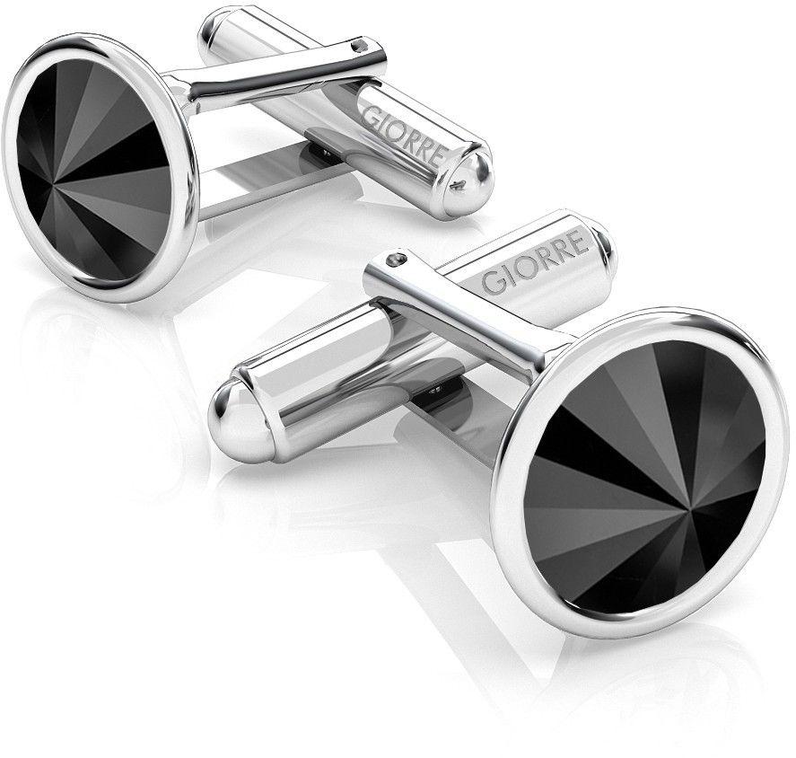 Srebrne spinki do mankietu Swarovski rivoli, srebro 925 : Srebro - kolor pokrycia - Pokrycie platyną, SWAROVSKI - kolor kryształu - Jet