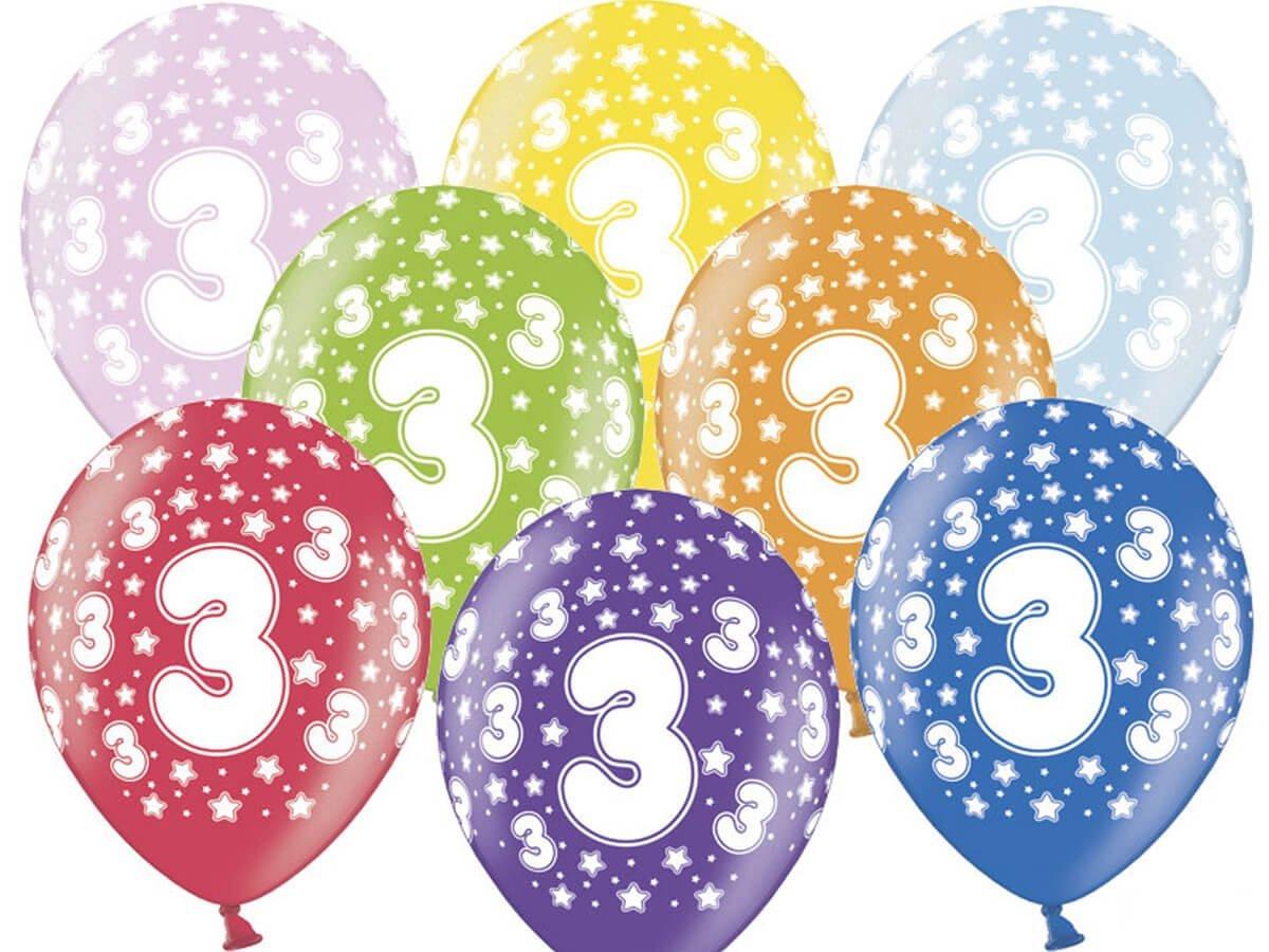 Balony lateksowe z cyferką 3 - mix - 30 cm - 5 szt.
