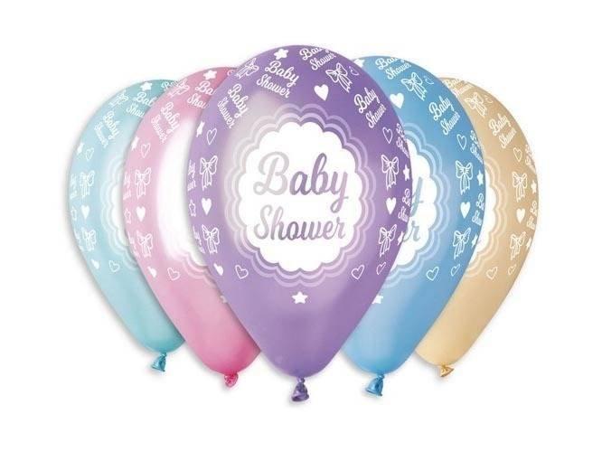 Balony metaliczne Baby Shower - 30 cm - 5 szt.