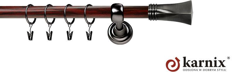 Karnisz Metalowy Prestige pojedynczy 25mm Porto Antracyt - mahoń