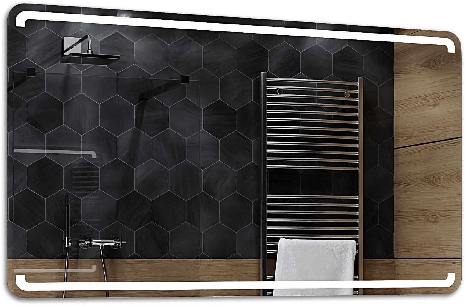 Alasta Lustro Łazienkowe z Podświetleniem LED - rozmiar 80x60cm - zimny kolor LED - Model Mediolan