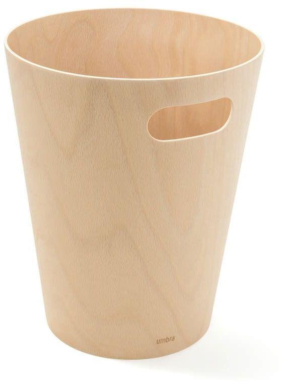 Umbra - kosz na śmieci woodrow - grafitowy - jasne drewno