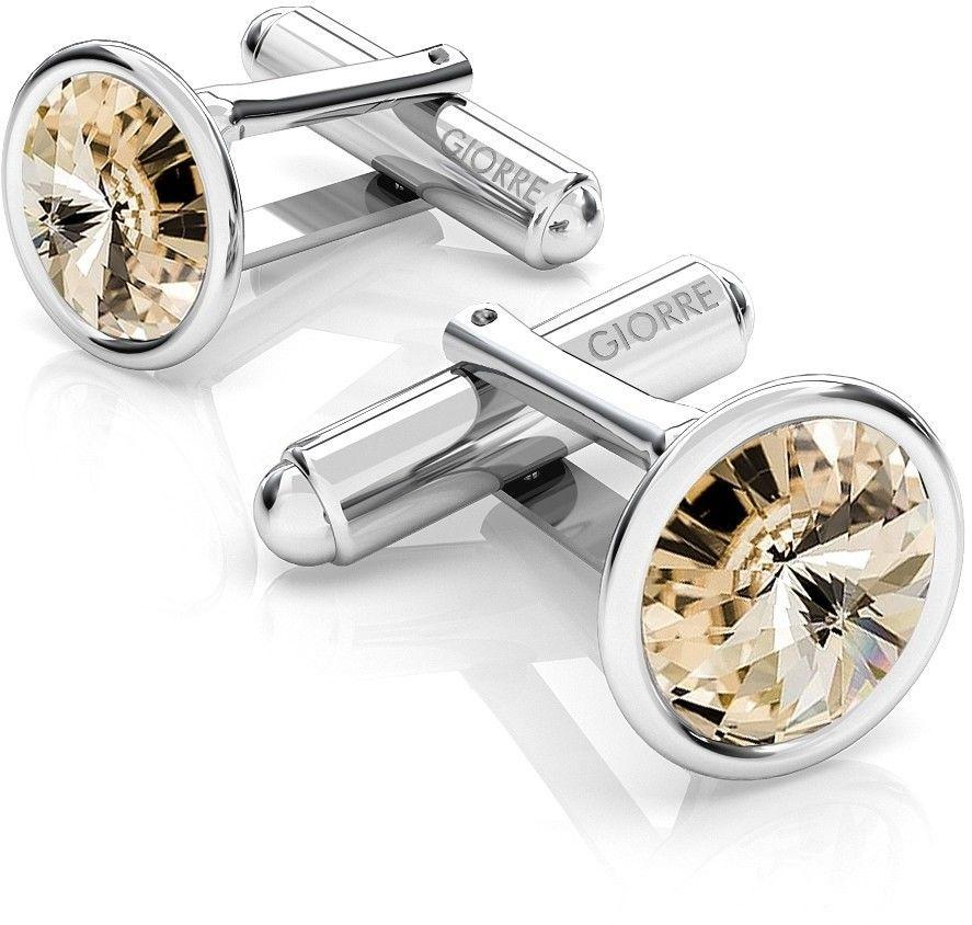 Srebrne spinki do mankietu Swarovski rivoli, srebro 925 : Srebro - kolor pokrycia - Pokrycie platyną, SWAROVSKI - kolor kryształu - Light Silk