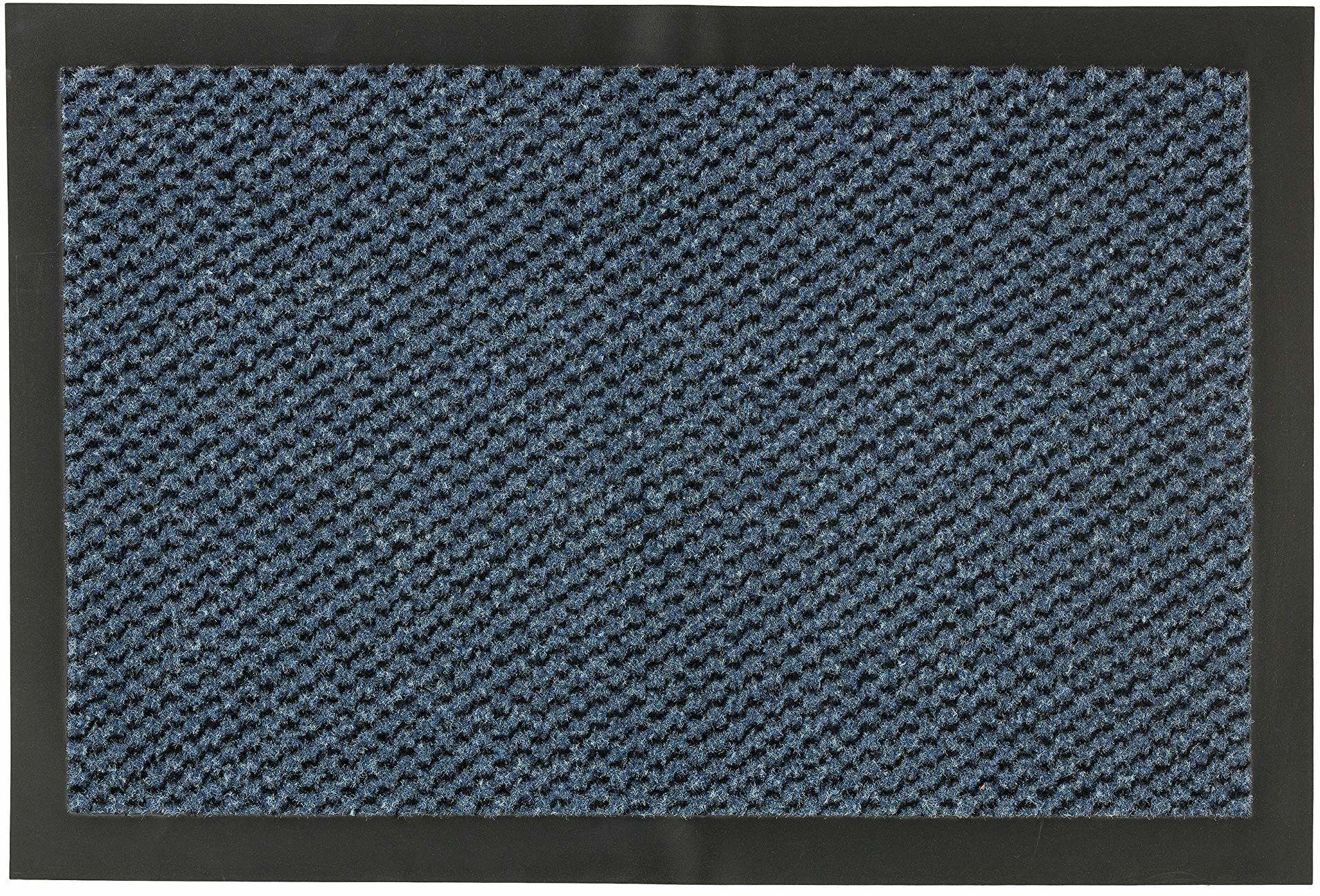 Wycieraczka Nela do wnętrz - wycieraczka szybko schnie - antypoślizgowa poślizgowa - prosta wycieraczka - 60 x 80 cm - niebieska melanżowa