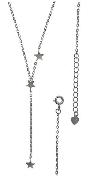 Srebrny naszyjnik 925 krawatka z gwiazdami 2,3g