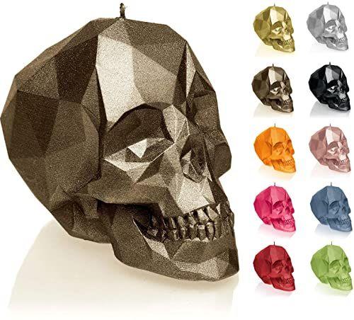 Candellana Świeca mała czaszka Low Poly, wysokość, 7,5 x 10 x 6,5 cm, czerwona, czaszka, ręcznie robiona w UE