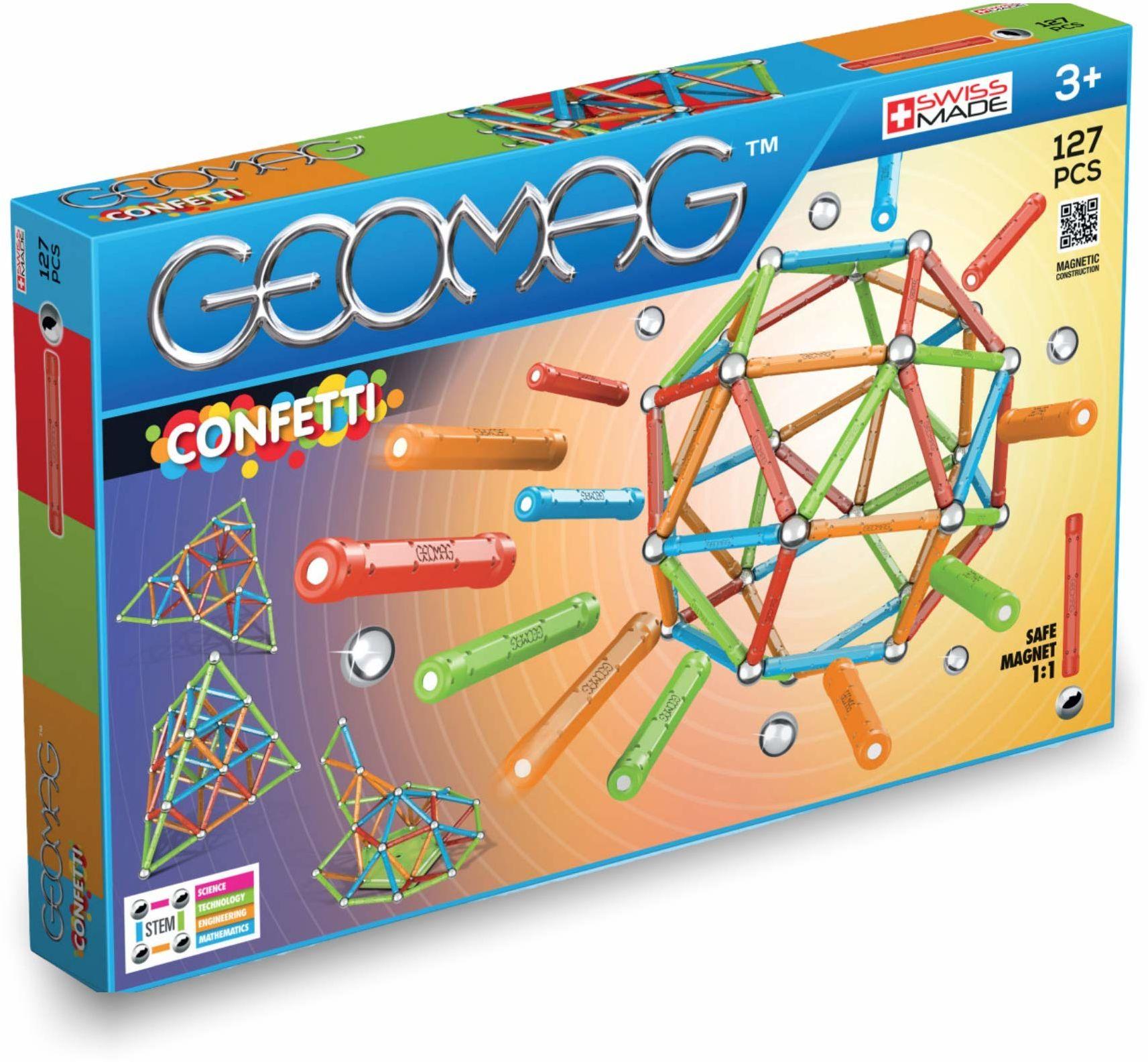 Geomag, Classic Confetti, 354, konstrukcje magnetyczne i gry edukacyjne, zabawka konstrukcyjna, 127-częściowy