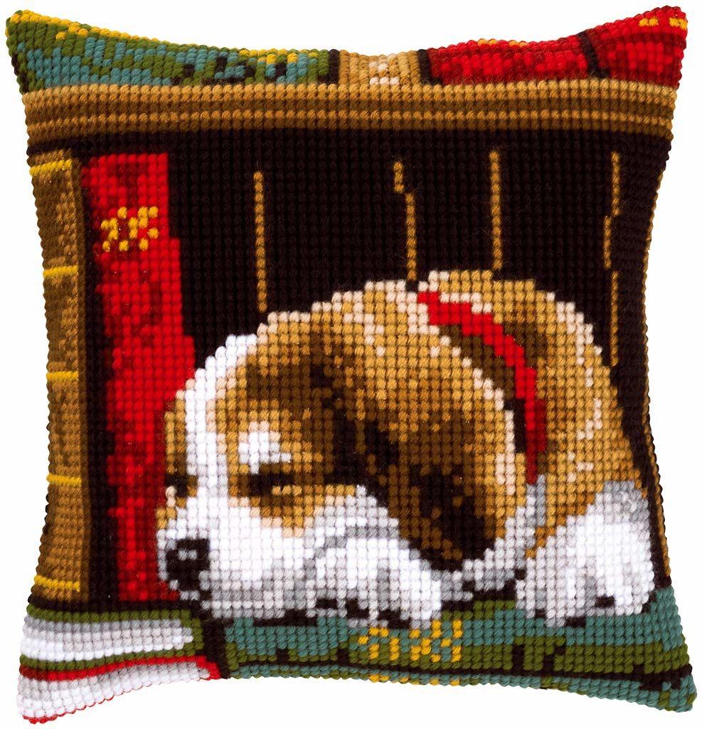 Vervaco Zestaw do haftu krzyżykowego: Poduszka: Śpiący psa, N A, 40 x 40 cm