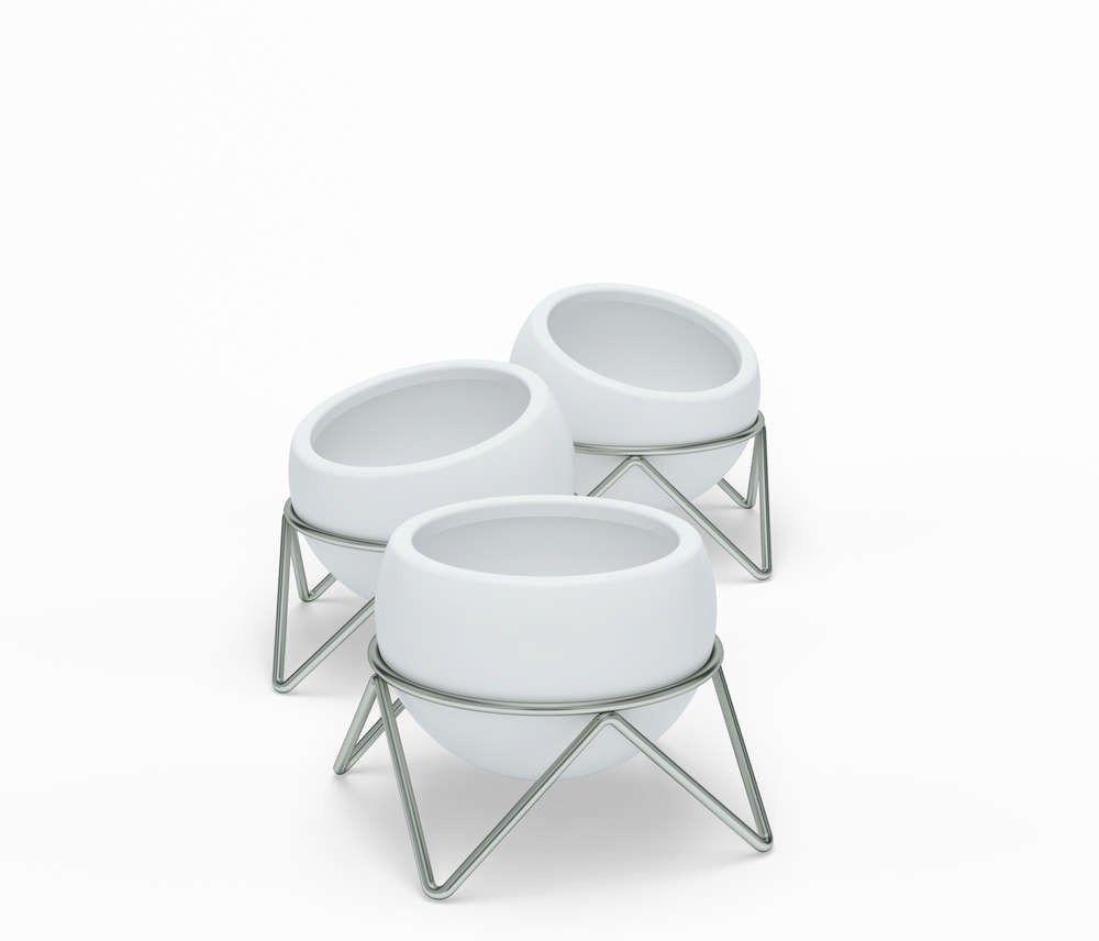 Umbra - zestaw 3 doniczek potsy, biały - nikiel biały