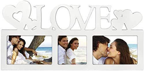 """Hama Ramka na zdjęcia do kolażu zdjęć """"Montreal - Love"""" (ramka na zdjęcia z napisem Love i serduszkami, na 3 zdjęcia, ramka z tworzywa sztucznego, prawdziwe szkło) galeria zdjęć biała"""