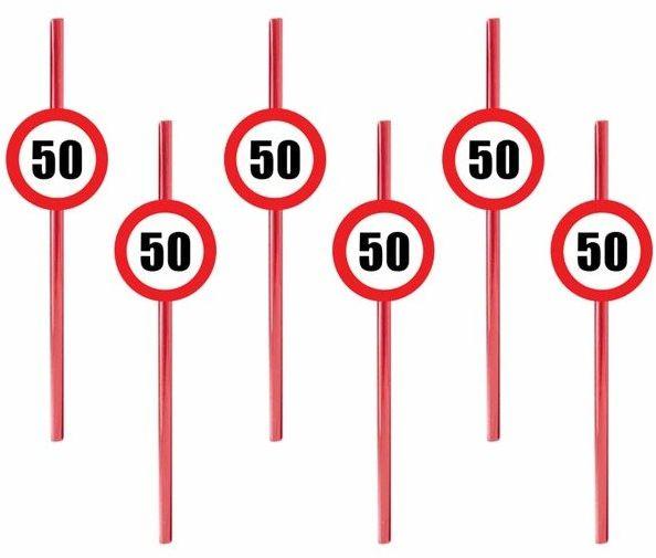 Słomki na 50 urodziny Znak Zakazu 6szt. SLP-ZAK50