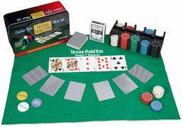Relaxdays Zestaw do pokera, 200 żetonów, mata do gry, 2 bilety na karty, przycisk rozstawu, blindbuttons, feeling, profesjonalna gra w pokera