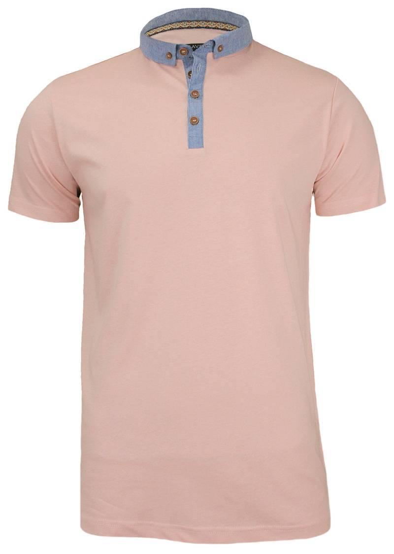 Koszulka Polo z Niebieskimi Wstawkami - 100% BAWEŁNA - Brave Soul, Męska TSBRSSS17CHIMERAIpink