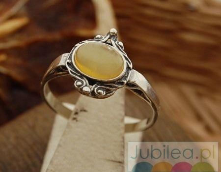 Cambara - srebrny pierścionek z bursztynem