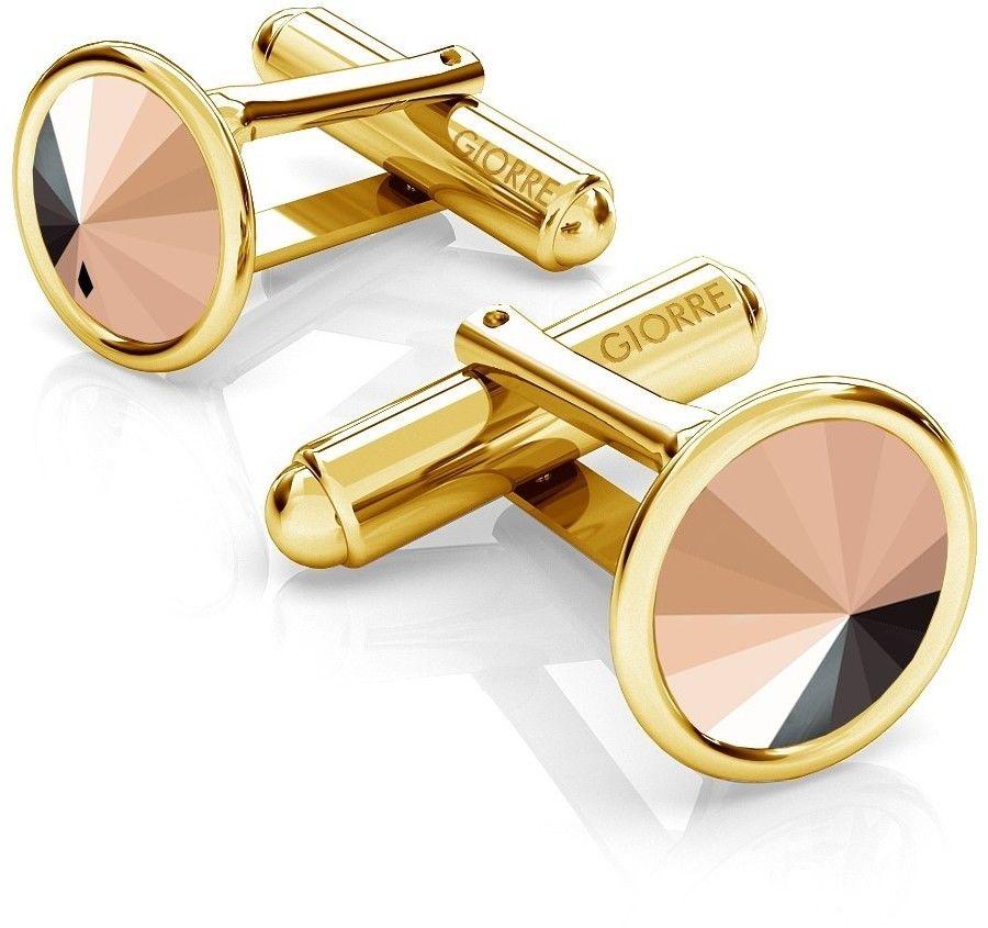 Srebrne spinki do mankietu Swarovski rivoli, srebro 925 : Srebro - kolor pokrycia - Pokrycie żółtym 18K złotem, SWAROVSKI - kolor kryształu - Rose Gold