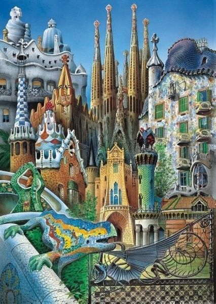 Educa Puzzle 1000 Projekty Gaudiego - Collage