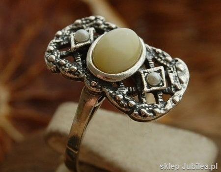 Barocco - srebrny pierścionek z bursztynem i perłami