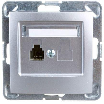IMPRESJA Gniazdo telefoniczne pojedyncze RJ11 srebrne GPT-1Y/m/18