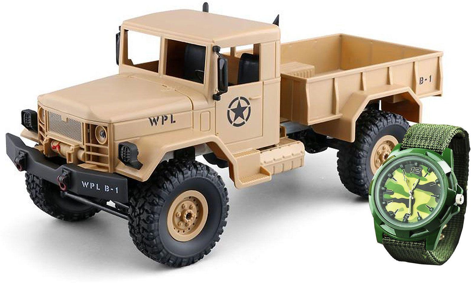 Amewi 22328 kolor piaskowy U.S. wojskowy ciężarówka 4WD 1:16 RTR zegar