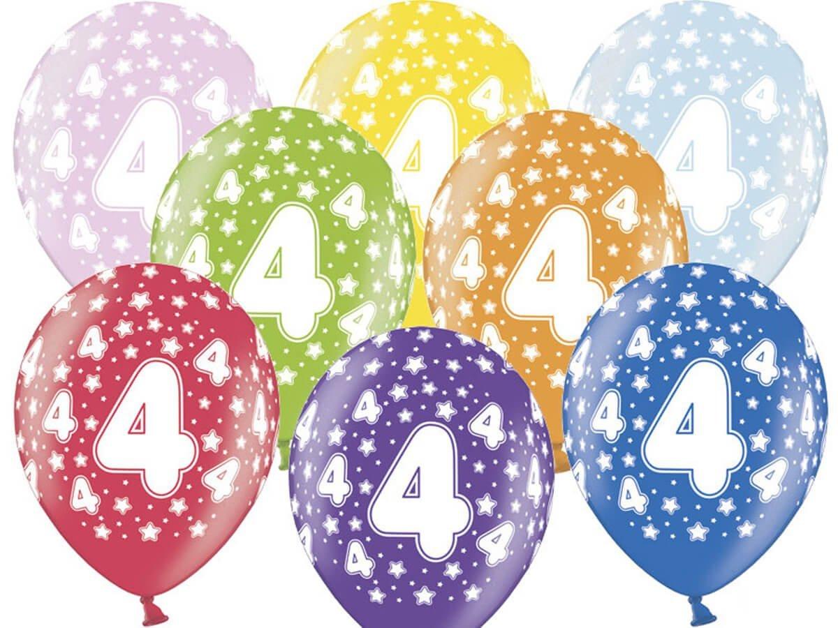 Balony lateksowe z cyferką 4 - mix - 37 cm - 5 szt.